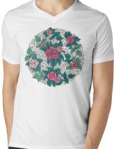 Floral pattern of spirals, swirls, doodles Mens V-Neck T-Shirt