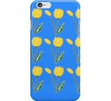 Yellow Tulips with Blue Pattern iPhone Case/Skin
