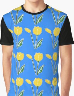 Yellow Tulips with Blue Pattern Graphic T-Shirt