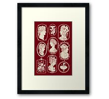 Cameos - red Framed Print