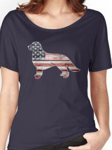 Patriotic Golden Retriever, American Flag Women's Relaxed Fit T-Shirt