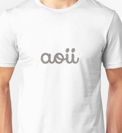 Coral and Gray Polka Dot AOII Cursive Unisex T-Shirt