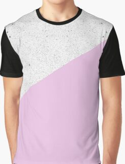 Modern Black White Concrete and Pink Color Block Graphic T-Shirt