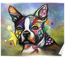 Boho Boston Terrier Poster