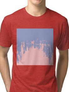 Rose Quartz and Serenity Blue Paint Strokes Tri-blend T-Shirt