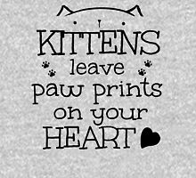 kittens leave paw prints on your heart Womens Fitted T-Shirt