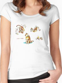 calvin and hobbes characters Women's Fitted Scoop T-Shirt
