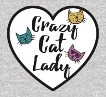 Crazy Cat Lady Heart Sticker Girly Love Kids Tee