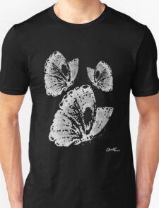 Butterflies - White on Black Unisex T-Shirt