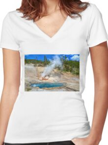 Letting Off Steam Women's Fitted V-Neck T-Shirt