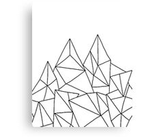 Geometric Mountains - White Canvas Print