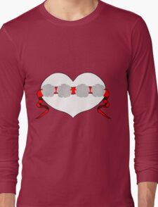 Red Studded Rose Heart Design by Kat Worth Long Sleeve T-Shirt