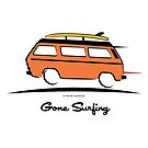 Orange Vanagon Caravelle Bulli Bus Gone Surfing  by Frank Schuster
