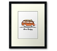 Orange Vanagon Caravelle Bulli Bus Gone Surfing  Framed Print