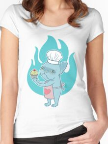 Blue Frenchie and his magical love cupcake Women's Fitted Scoop T-Shirt