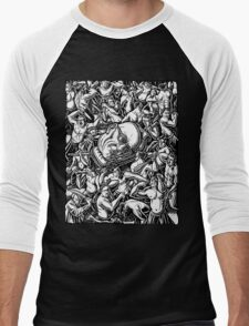 The Giant Head of Philosopher Michel Foucault amidst a scene of Whipping and Flagellation Men's Baseball ¾ T-Shirt