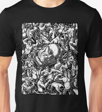 The Giant Head of Philosopher Michel Foucault amidst a scene of Whipping and Flagellation Unisex T-Shirt