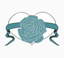 Teal Rose Heart Design by Kat Worth One Piece - Short Sleeve