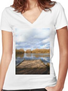 Clouds over the Lake Women's Fitted V-Neck T-Shirt