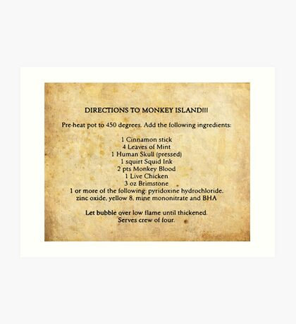 Directions to monkey island Art Print