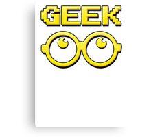 Cartoon GEEK Pixels Glasses T Shirt Canvas Print