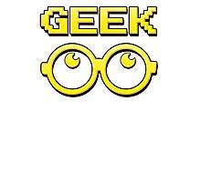 Cartoon GEEK Pixels Glasses T Shirt Photographic Print