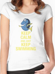 Keep Calm and just Keep Swimming Women's Fitted Scoop T-Shirt