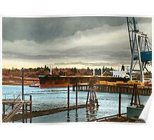 Freighter at Portland Oregon Docks Poster