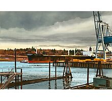 Freighter at Portland Oregon Docks Photographic Print