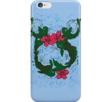 Koi Fish Swimming Among Red Lotus Flowers iPhone Case/Skin