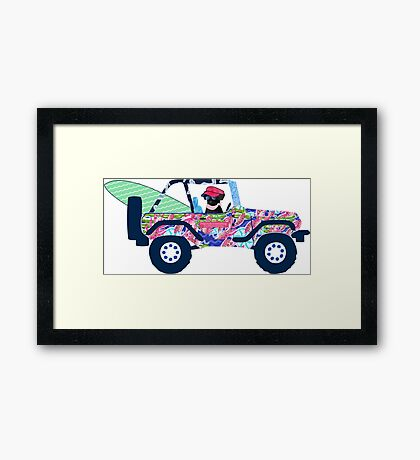 Preppy Jeep Black Lab Puppy - Island Vacation Framed Print