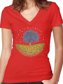 Starry Night Sky Women's Fitted V-Neck T-Shirt