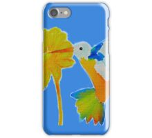 Hummingbird and flower watercolor painting iPhone Case/Skin