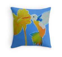 Hummingbird and flower watercolor painting Throw Pillow