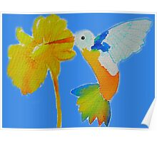Hummingbird and flower watercolor painting Poster