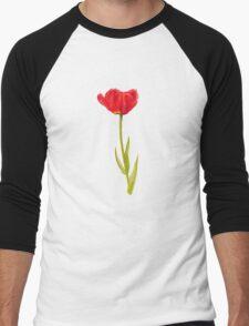 Single red tulip flower watercolor art Men's Baseball ¾ T-Shirt
