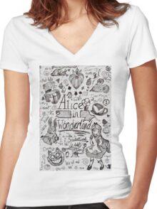 Alice in Wonderland Sketchbook Page 1 Women's Fitted V-Neck T-Shirt