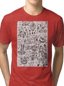 Alice in Wonderland Sketchbook Page 1 Tri-blend T-Shirt