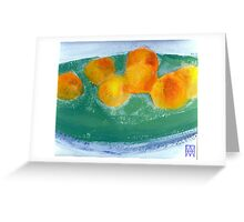 Apricots on a Green Wooden Platter Greeting Card