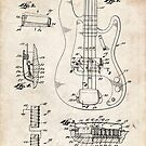 1961 Fender Precision Bass Guitar Patent Art by Steve Chambers