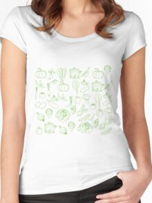 Vegan Vegetables Healthy Green Food Graphic Tee Doodle Women's Fitted Scoop T-Shirt