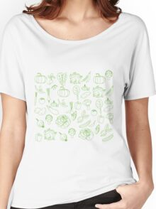 Vegan Vegetables Healthy Green Food Graphic Tee Doodle Women's Relaxed Fit T-Shirt
