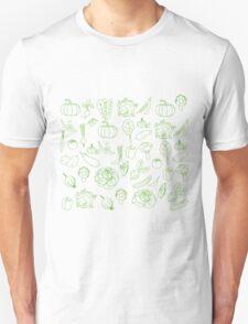 Vegan Vegetables Healthy Green Food Graphic Tee Doodle Unisex T-Shirt