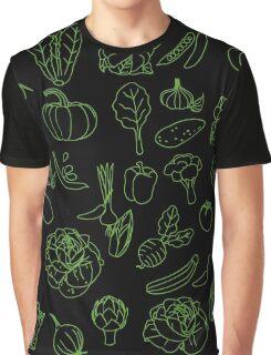 Vegan Vegetables Healthy Green Food Graphic Tee Doodle Graphic T-Shirt