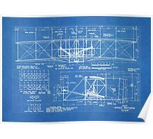 1903 Wright Flyer Airplane Invention Patent Art, Blueprint Poster