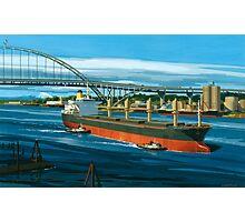 Freighter under Portland's Fremont Bridge Photographic Print
