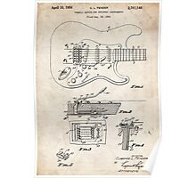 1956 Fender Stratocaster Guitar Invention Patent Art Poster