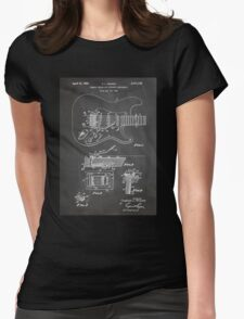 1956 Fender Stratocaster Guitar Invention Patent Art, Blackboard Womens Fitted T-Shirt
