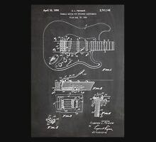 1956 Fender Stratocaster Guitar Invention Patent Art, Blackboard Unisex T-Shirt
