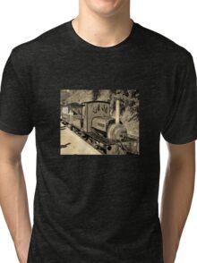 LAUNCESTON STEAM RAILWAY LOCOMOTIVE COVERTCOAT IN SEPIA Tri-blend T-Shirt